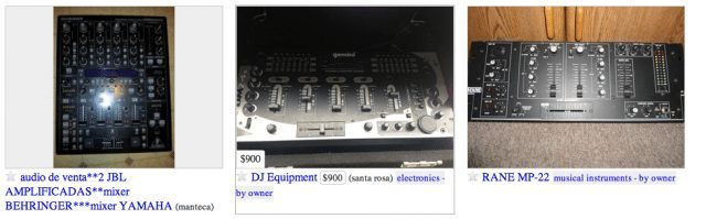 A sampling of the DJ gear available on the SF Bay Area Craigslist