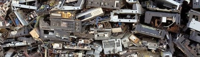 Electronic waste piles up quickly in recycling centers.