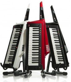 Korg RK-100s Keytars in white, red, and black.