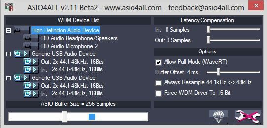 Adjusting latency settings is easy in ASIO4ALL