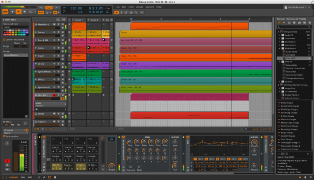 Bitwig Studio with the Central Panel in Arrange view.
