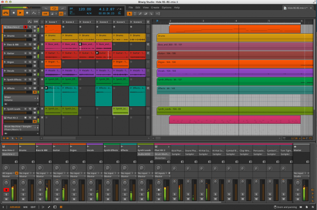 Bitwig with the clip launcher, arrangement and mixer showing.