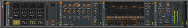 A Drum Machine with a nested Post FX chain.