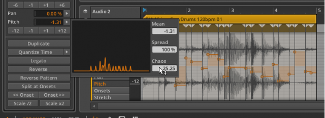 The Bitwig Histogram editing multiple audio events randomly.