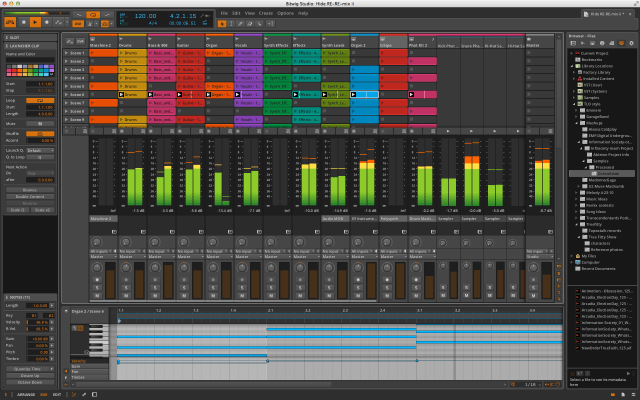 Bitwig with the Central Panel in Mix view and the Drum Machine track unfolded.
