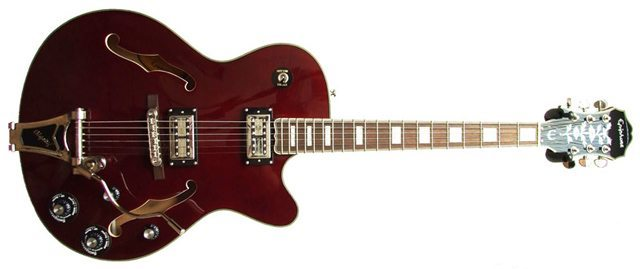 A Epiphone Emperor Swingster, Machinedrum's live guitar of choice