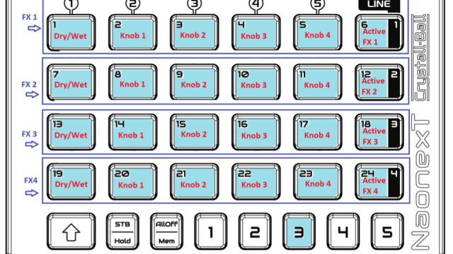 Crystall Ball's Traktor template, Set 3, with four rows of effects controls in infrared Crystall Ball mode.