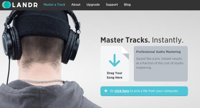 LANDR step 1: drop in an audio file.