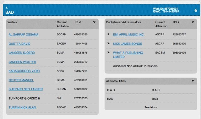 "The ASCAP title page for David Guetta's ""BAD"""