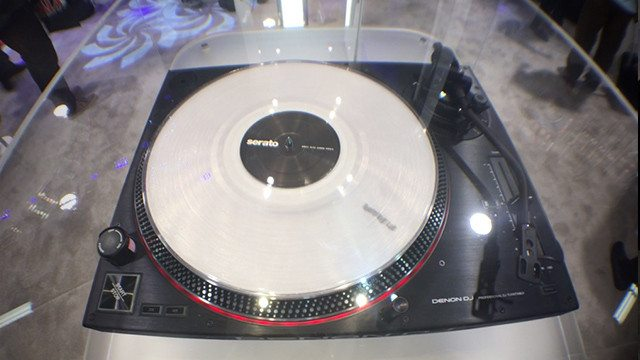 """The VL12 turntable under """"glass"""" at the Denon DJ NAMM booth"""