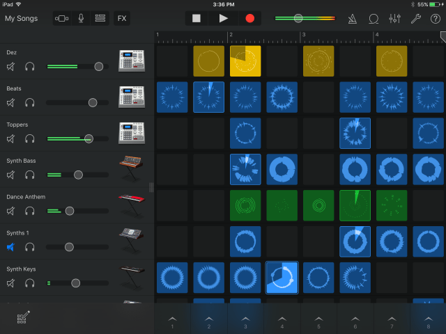 The Live Loops view with track mixer visible in GarageBand for iOS 2.1.