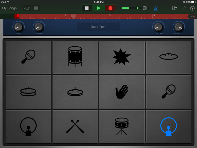 The drum machine instrument interface in GarageBand for iOS 2.1.