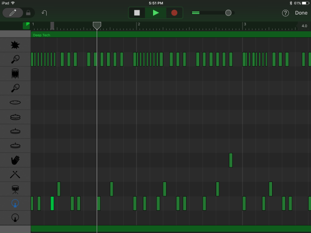 The drum MIDI editor inside of GarageBand for iOS 2.1.