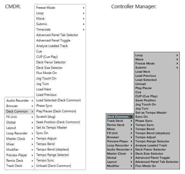 cmdr's control order (right) is alphabetical - a bit confusing compared to Traktor's ordering