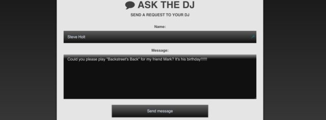 What it looks like when audience members go to your Ask.The.DJ URL