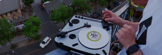 Image from this video of portablist DJ Mugzee practicing on a rooftop in Berlin