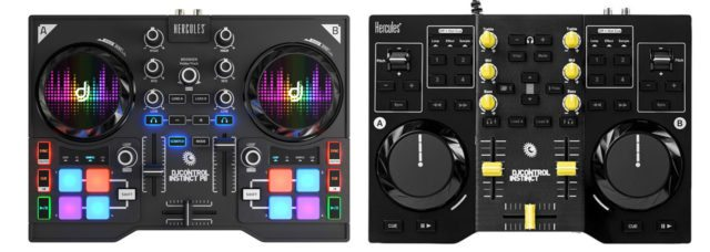 The new P8 version, at left, and the older DJControl Instinct, at right.