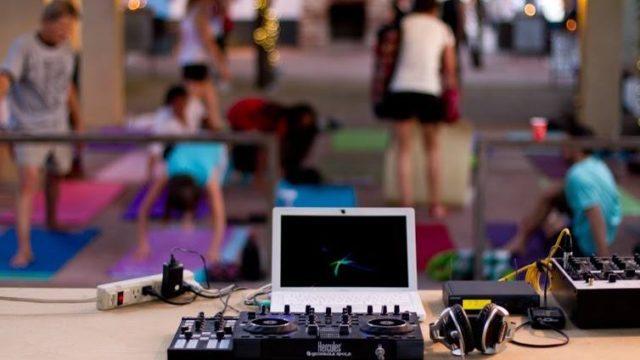 DJ controller setup and Yoga Class
