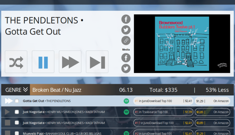 Screenshot of the RemixRotation site, showing the playlist.