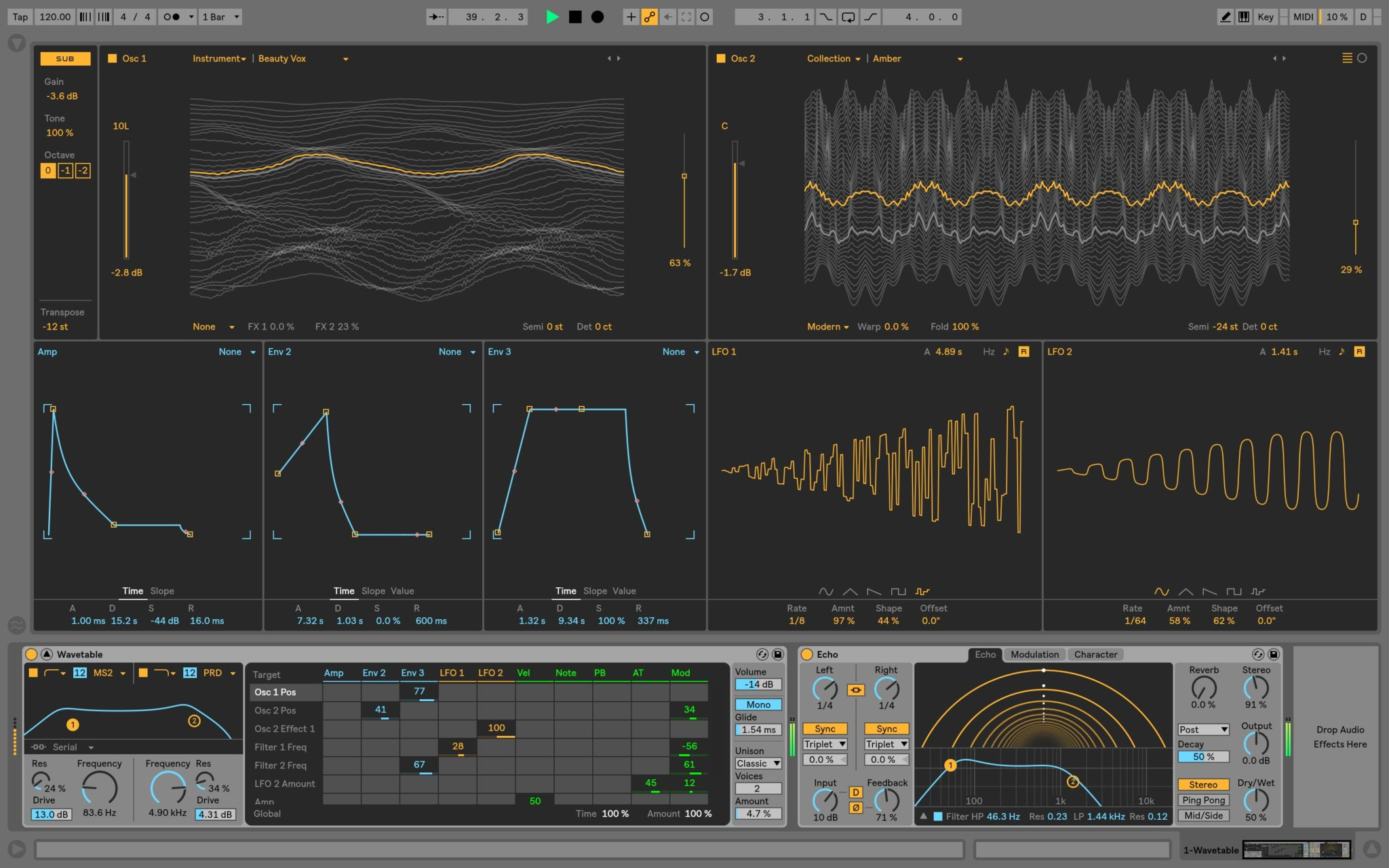 Wavetable Synth and Echo effect