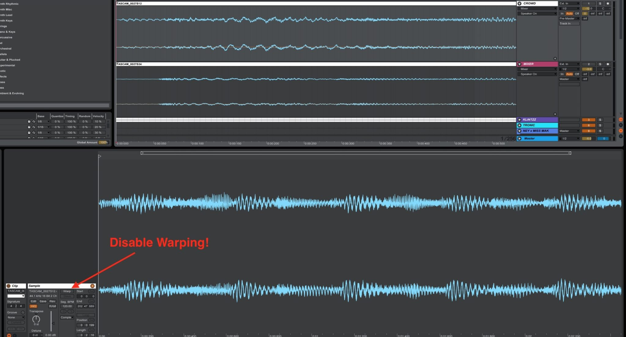 Disable Warping in Ableton