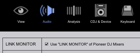 Link Monitor in Rekordbox settings