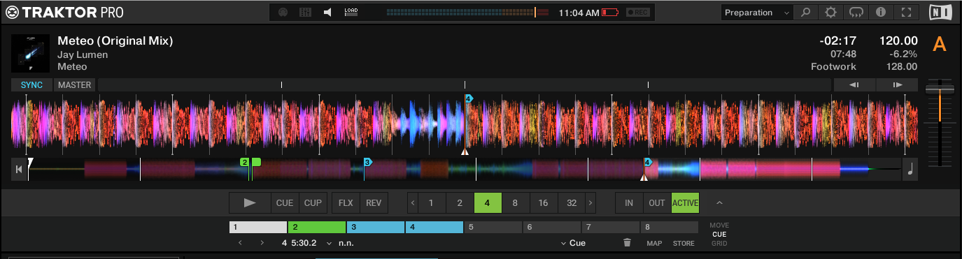 Traktor Pro 3.1's single deck preparation layout