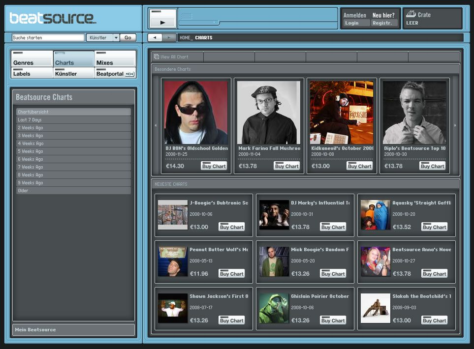 A screenshot of the original Beatsource in 2008.