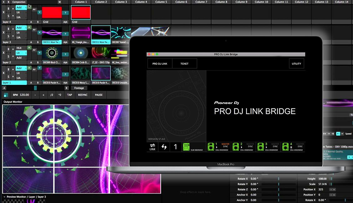Pioneer Pro DJ Link Bridge to VJ software, lighting