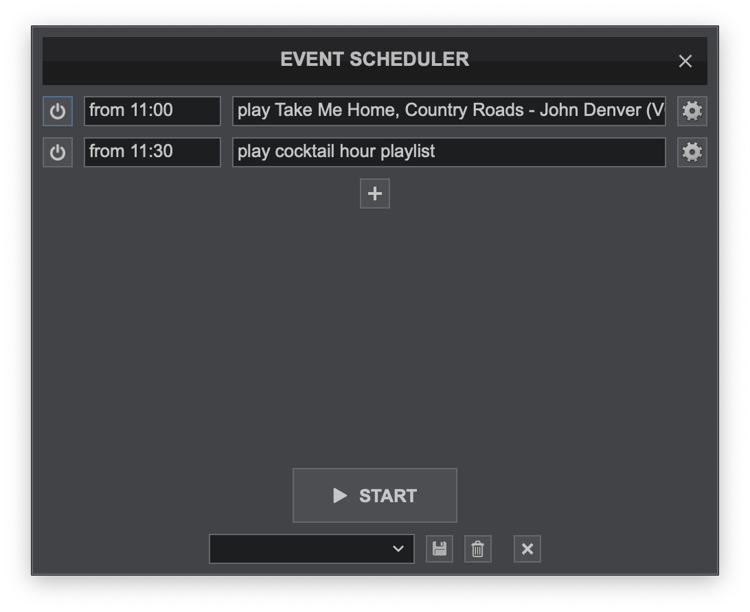 Virtual DJ 2020's event sheduler