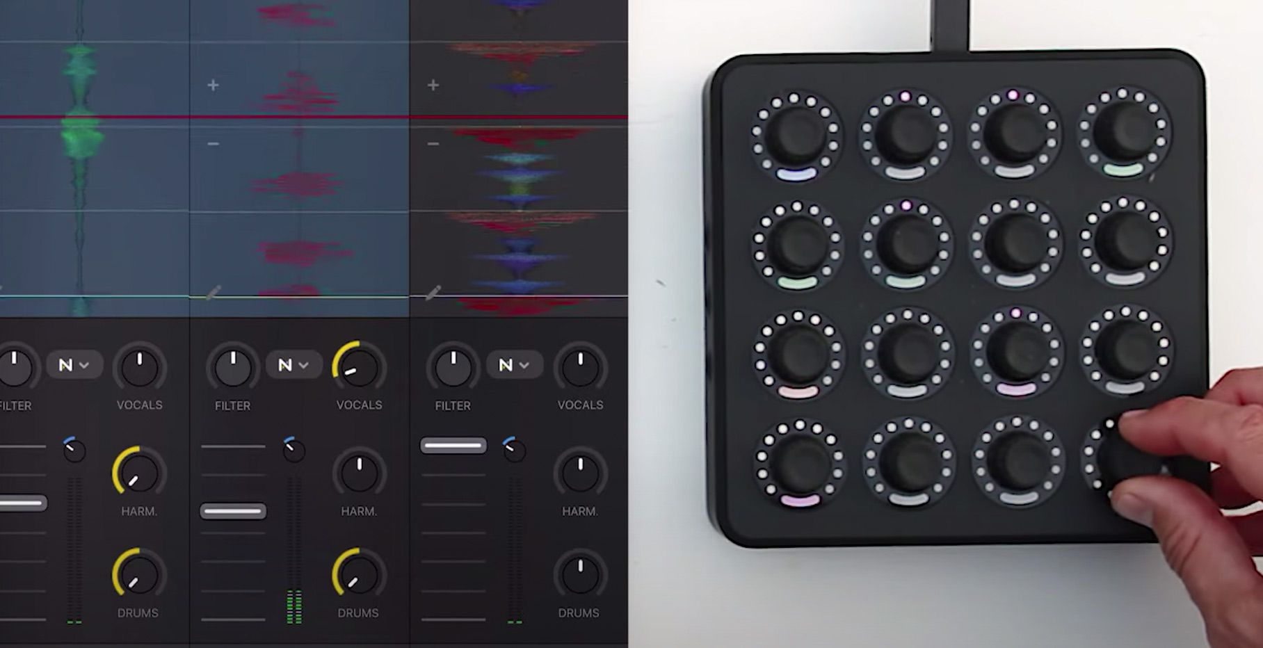 Neural Mix stem separation control with Midi Fighter Twisters + djay