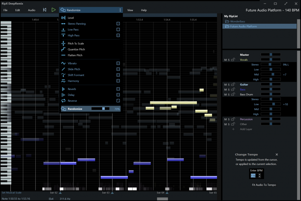 RipX DeepRemix: split stereo files, create and remix stems with this AI software