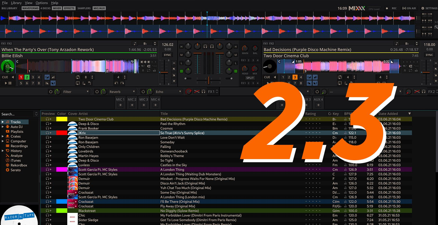 Mixxx – the free DJ software – gets a major update with 2.3.0 release